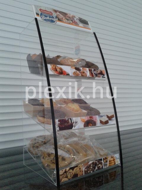 Plexi sütemény kínáló