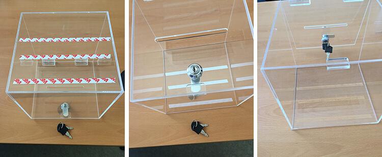 Adománygyűjtő doboz rögzítése kétoldalú ragasztószalaggal